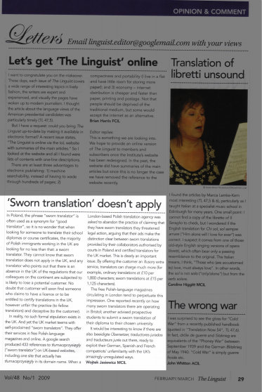 Article about Sworn Translation, published in The Linguist, by the Institute of Linguists